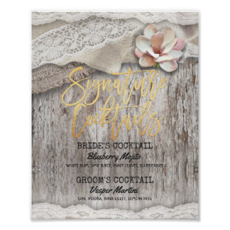 Rustic Wood Burlap Wedding Signature Drink Menu Poster