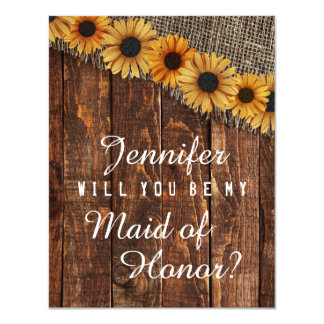 Rustic Wood & Burlap Will You Be My Maid of Honour Card