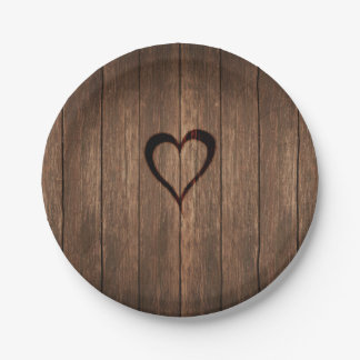 Rustic Wood Burned Heart Print 7 Inch Paper Plate