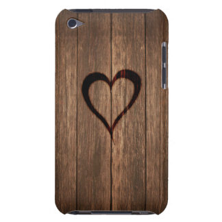 Rustic Wood Burned Heart Print Barely There iPod Cover