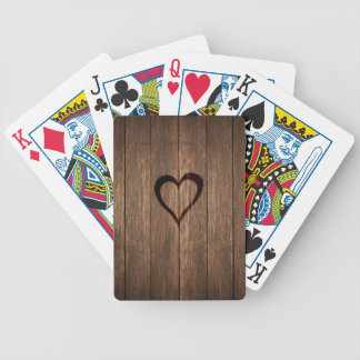 Rustic Wood Burned Heart Print Bicycle Playing Cards
