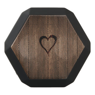 Rustic Wood Burned Heart Print Black Bluetooth Speaker