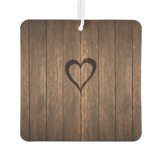 Rustic Wood Burned Heart Print Car Air Freshener