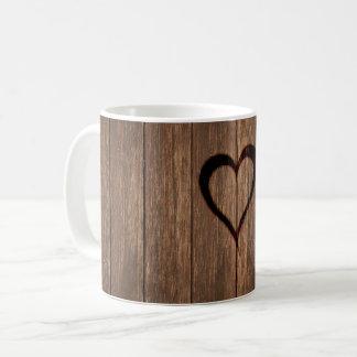 Rustic Wood Burned Heart Print Coffee Mug