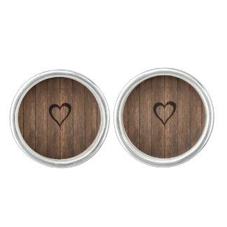Rustic Wood Burned Heart Print Cufflinks