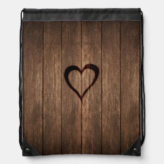 Rustic Wood Burned Heart Print Drawstring Bag