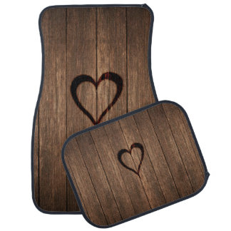 Rustic Wood Burned Heart Print Floor Mat