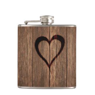 Rustic Wood Burned Heart Print Hip Flask