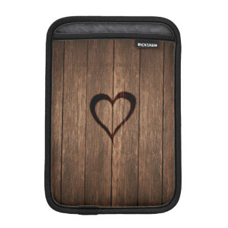 Rustic Wood Burned Heart Print iPad Mini Sleeve
