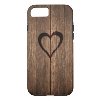 Rustic Wood Burned Heart Print iPhone 8/7 Case