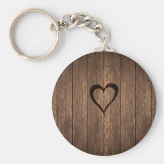 Rustic Wood Burned Heart Print Key Ring