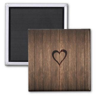 Rustic Wood Burned Heart Print Magnet