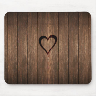 Rustic Wood Burned Heart Print Mouse Pad