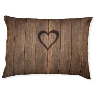 Rustic Wood Burned Heart Print Pet Bed