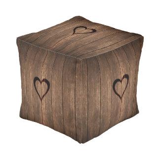 Rustic Wood Burned Heart Print Pouf