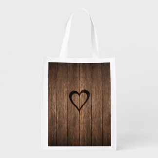 Rustic Wood Burned Heart Print Reusable Grocery Bag