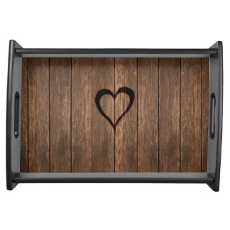 Rustic Wood Burned Heart Print Serving Tray