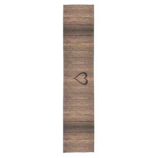 Rustic Wood Burned Heart Print Short Table Runner