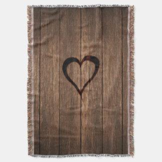 Rustic Wood Burned Heart Print Throw Blanket