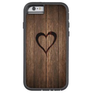 Rustic Wood Burned Heart Print Tough Xtreme iPhone 6 Case
