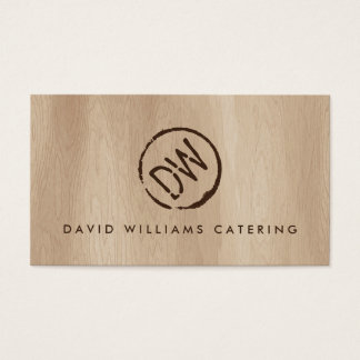 Rustic Wood-Burned Stamped Monogram for Catering 2 Business Card