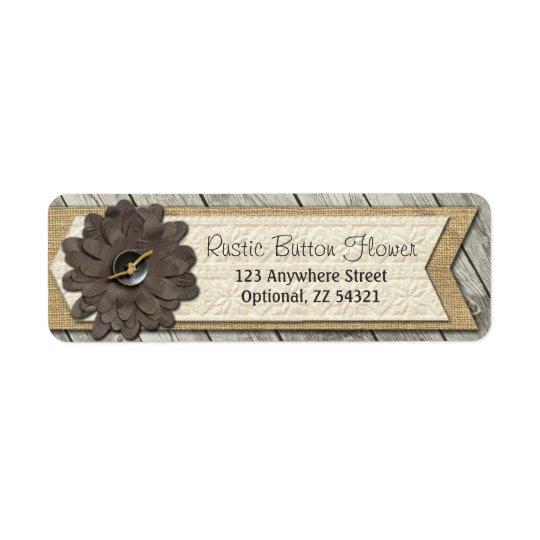 Rustic Wood Button Fabric Flower & Shabby Burlap Return Address Label