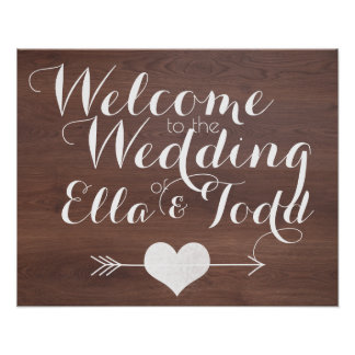Rustic Wood Calligraphy Wedding Seating Poster