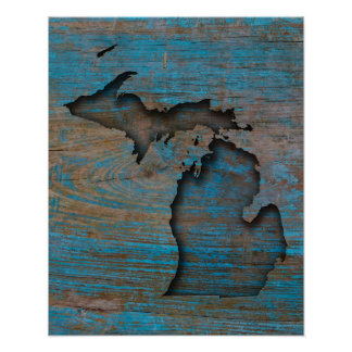 Rustic Wood Carved Michigan State Poster