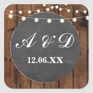 Rustic Wood Chalk Initials Stickers Label Lights