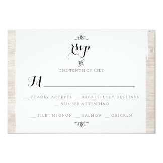 Rustic Wood Chic RSVP Invitation Card