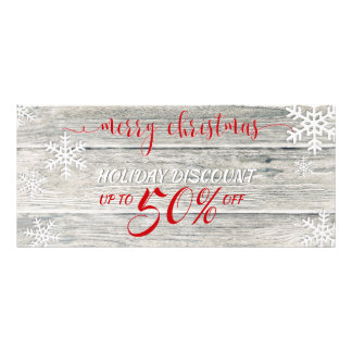 Rustic Wood Christmas Snowflakes - Discount Card