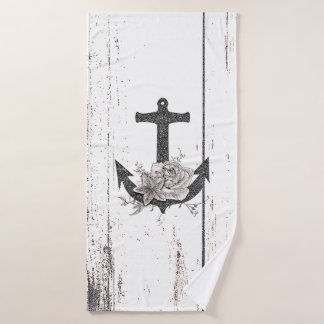 Rustic Wood Coastal Beach Anchor Vintage Floral Bath Towel Set