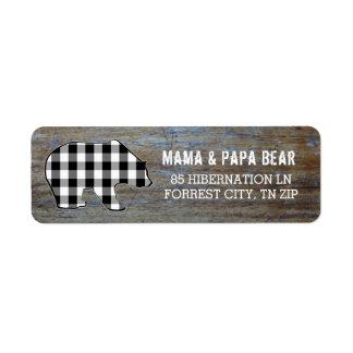 Rustic Wood   Country Black Bear Lumberjack Plaid Return Address Label