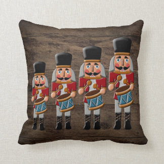Rustic Wood Country Christmas Nutcracker Cushion