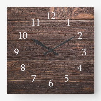 Rustic Wood Country Farmhouse Square Wall Clock