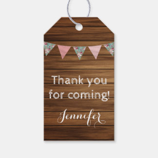 Rustic wood country farmhouse thank you party tag