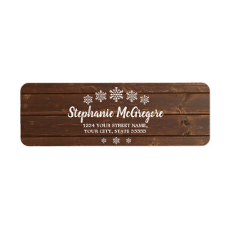 Rustic Wood Country Holidays Christmas Snowflakes Return Address Label