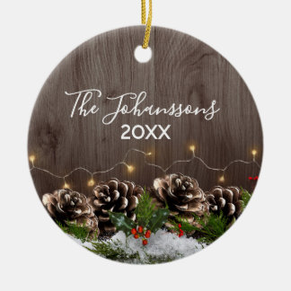 Rustic Wood Country Pines Lights & Snow Christmas Ceramic Ornament