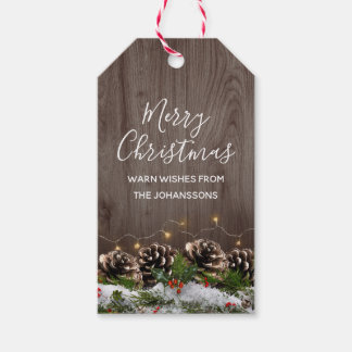 Rustic Wood Country Pines Lights & Snow Christmas Gift Tags