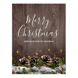 Rustic Wood Country Pines Lights & Snow Christmas Postcard