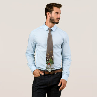 Rustic Wood Country Pines Lights & Snow Christmas Tie