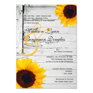 rustic wood country sunflower wedding invitations - Sunflower Wedding Invitations