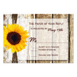 Rustic Wood Country Sunflower Wedding RSVP Cards Custom Invite