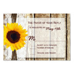 Rustic Wood Country Sunflower Wedding RSVP Cards Custom Invite