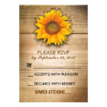rustic wood country sunflower wedding RSVP Custom Invites
