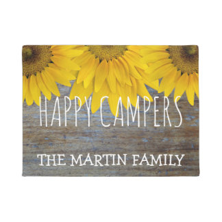 Rustic Wood Country Sunflowers Happy Campers Name Doormat