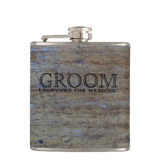 Rustic Wood Country Wedding Favor | Funny Groom Hip Flask