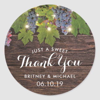 Rustic Wood Country Winery Twinkle Lights Wedding Round Sticker
