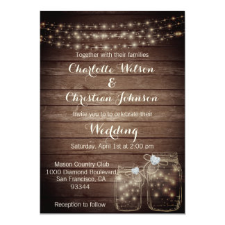 Rustic Wood County Mason Lights Wedding Invitation