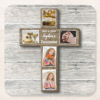 Rustic Wood Cross First Communion Photo - Coaster